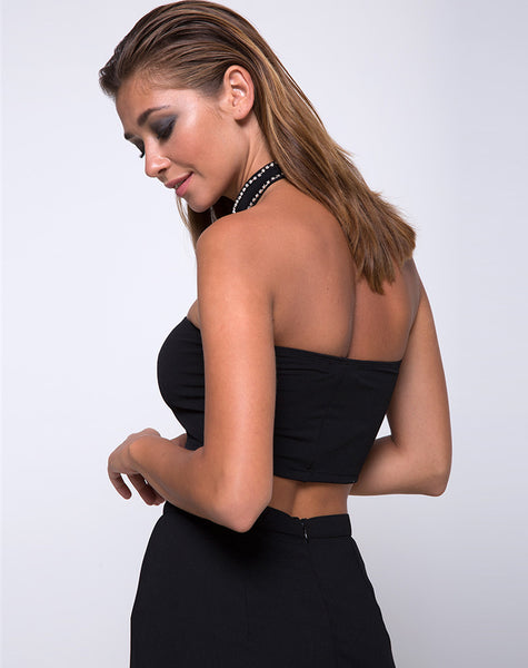Garneth Bandeau Top and Choker in Black Diamond by Motel