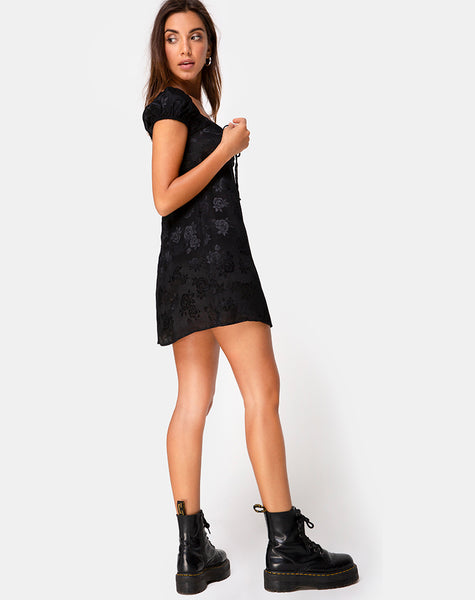 Gaval Mini Dress in Satin Rose Black by Motel