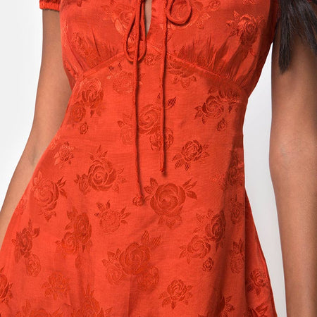 Gaval Mini Dress in Satin Rose Rust by Motel