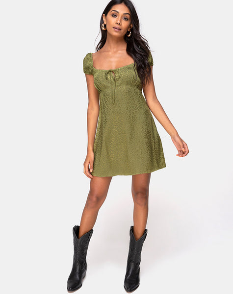 Gaval Mini Dress in Satin Cheetah Khaki by Motel