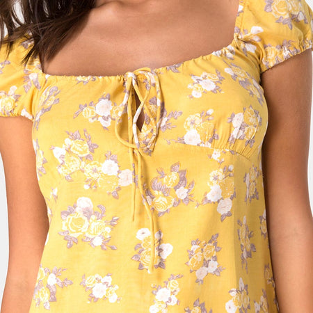 Gaval Mini Dress in Rose Bunch Yellow