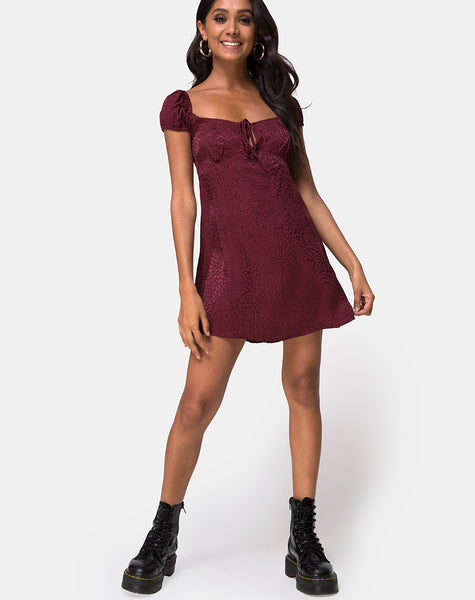 Gaval Mini Dress in Satin Cheetah Burgundy by Motel