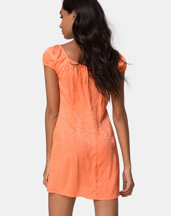 Gaval Mini Dress in Satin Cheetah Coral by Motel
