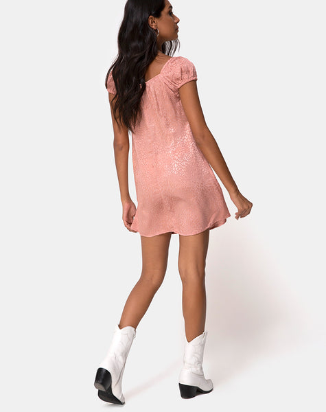 Gaval Mini Dress in Satin Cheetah Dusty Pink by Motel