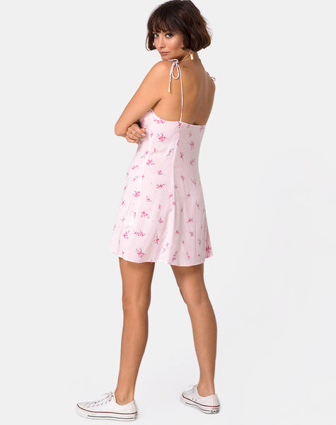Gethy Slip Dress in Forget Me Not Floral Pink