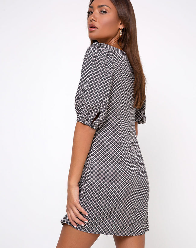Giada Dress in Check it Out Black by Motel