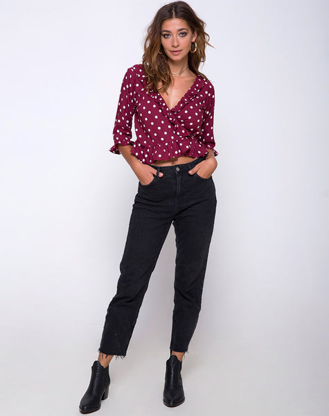 Giam Top in Medium Polka Wine