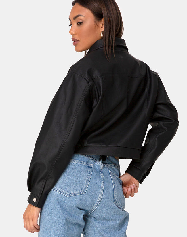 Gina Jacket in PU Black by Motel