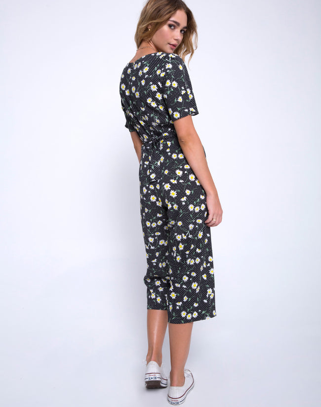 Giotto Jumpsuit in Polka Daisy Black by Motel