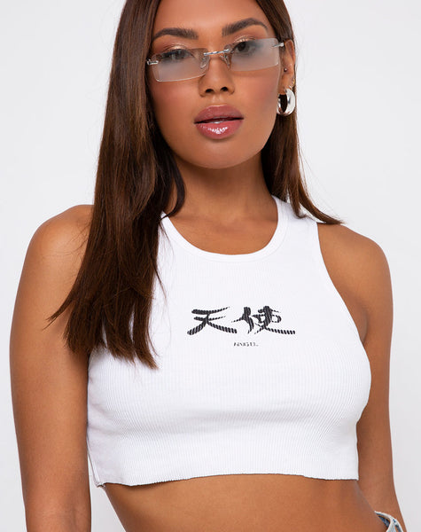 Givas Crop Top in White Japanese Angel by Motel