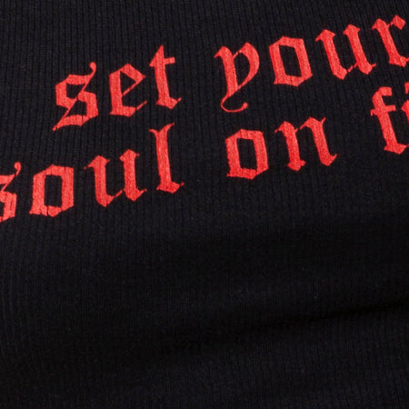 "Givas Crop Top in Black with ""Set Your Soul On Fire"" in Red by Motel"