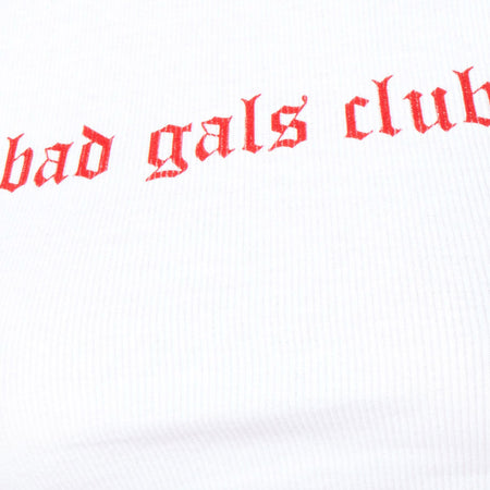 "Givas Crop Top in White ""Bad Gals Club"" in Red by Motel"