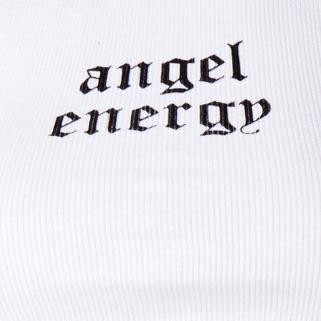 "Givas Crop Top in White ""Angel Energy"" in Black by Motel"