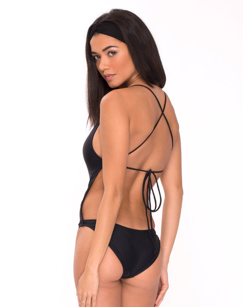 Glamazon Plunge Neck Swimsuit in Black by Motel