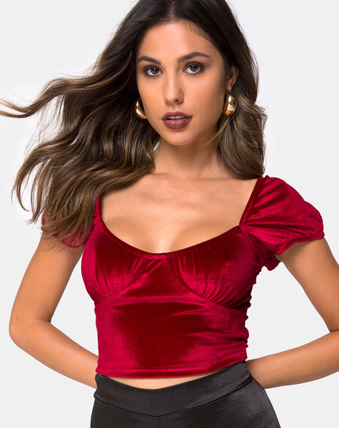 Glaty Top in Velvet Burgundy by Motel