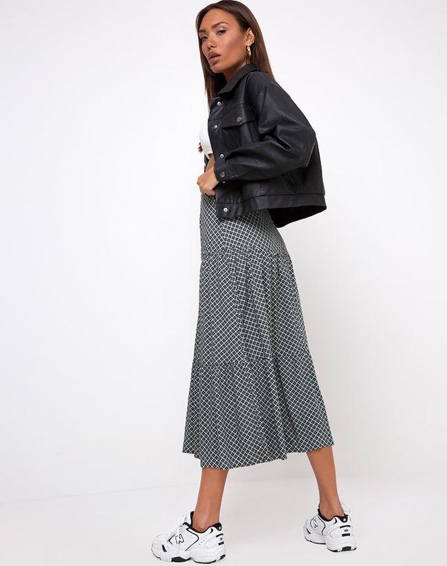 Gleas Skirt in Check it Out Green by Motel