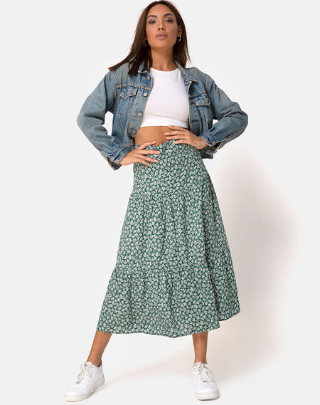 Saika Midi Skirt in Bloom Baby Blue by Motel