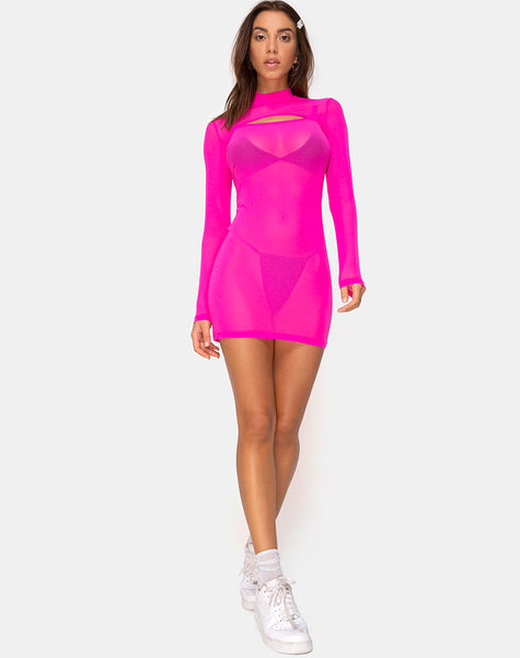 Glesia Dress Fluro Pink by Motel
