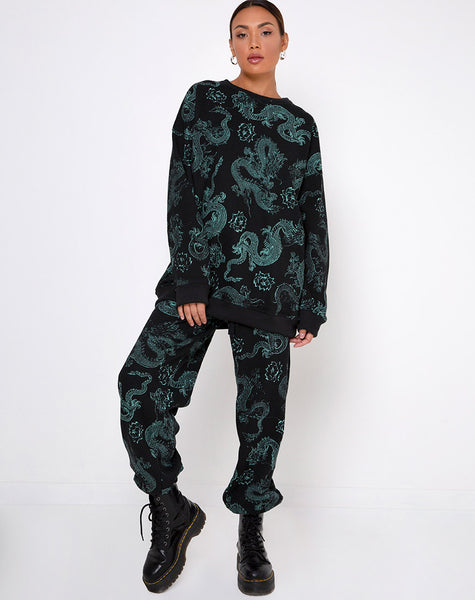 Basta Jogger in Dragon Flower Black and Mint by Motel