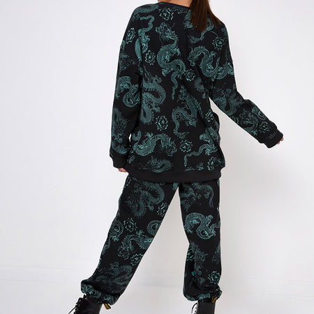 Glo Sweatshirt in Dragon Flower Black and Mint