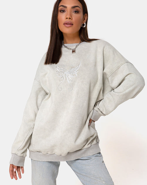 Glo Sweatshirt in Ecru with Butterfly Embro by Motel