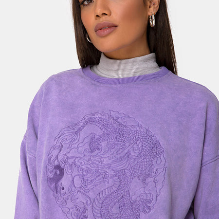 Glo Sweatshirt in Lilac Wash with Dragon Embro