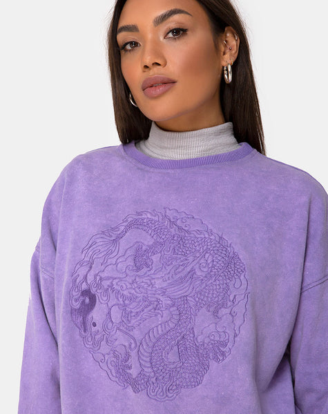 Glo Sweatshirt in Lilac Wash with Dragon Embro by Motel
