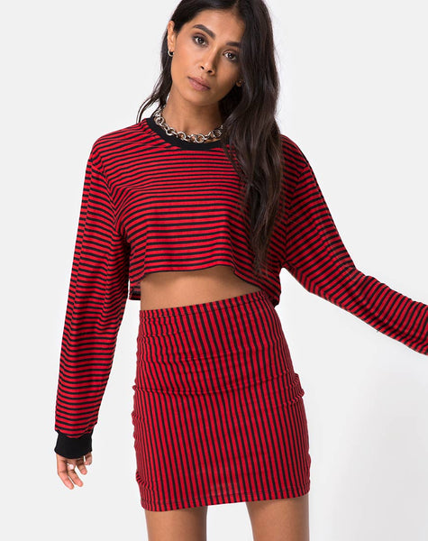 Kimmy Bodycon Skirt in Mini Stripe Red and Black by Motel
