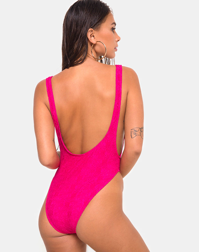 Goddess Swimsuit in Lace Fuschia Pink by Motel