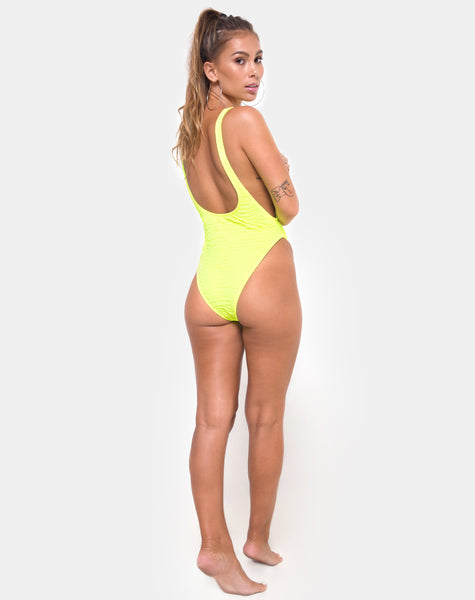 Goddess Swimsuit in 80's Crinkle Sour Lime by Motel