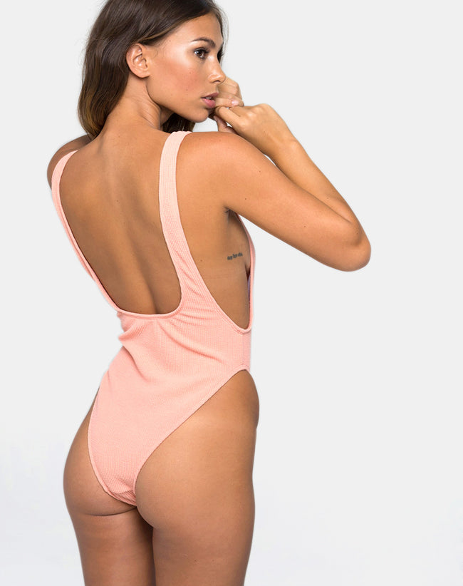 Goddess Swimsuit in Textured Peach by Motel