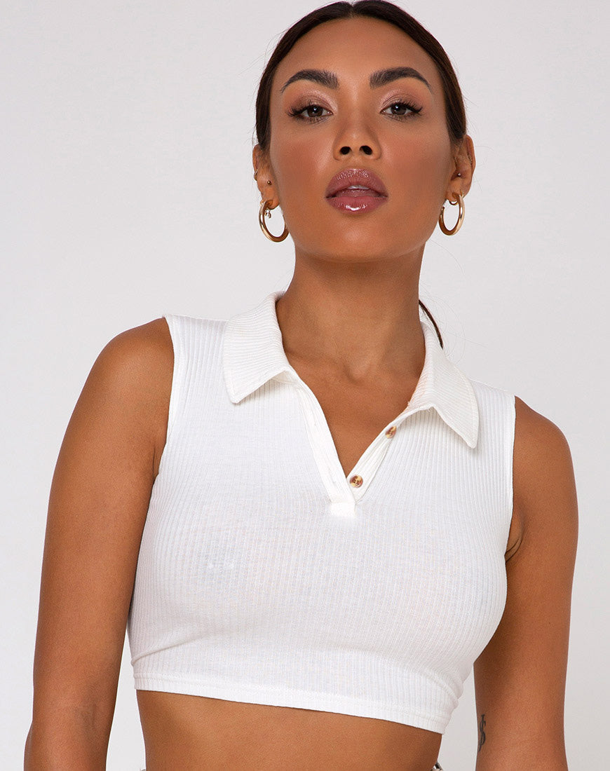 Guaco Crop  Top in Rib Ivory
