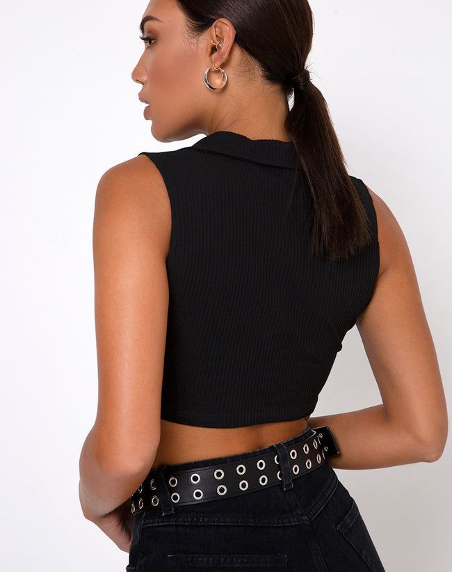 Guaco Crop Top in Rib Black