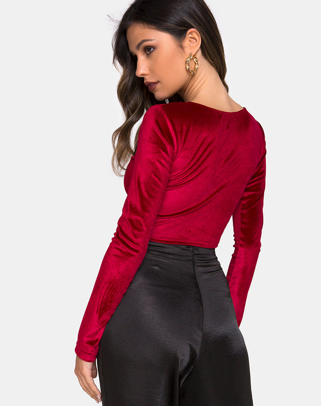 Guan Crop Top in Velvet Burgundy by Motel