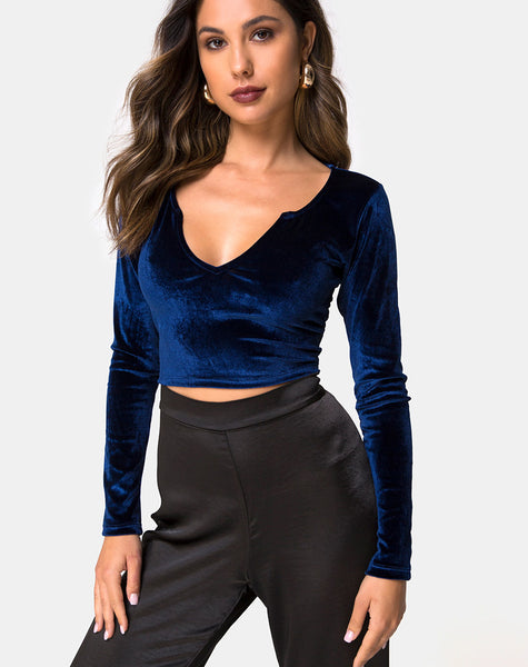 Guan Crop Top in Velvet Navy by Motel