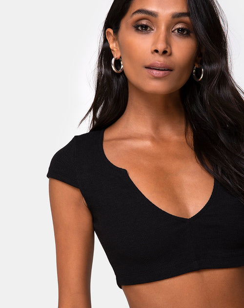 Guanna Crop Top in Rib Black by Motel