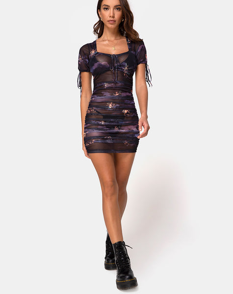 Guenetta Dress In Dark Angel Mesh