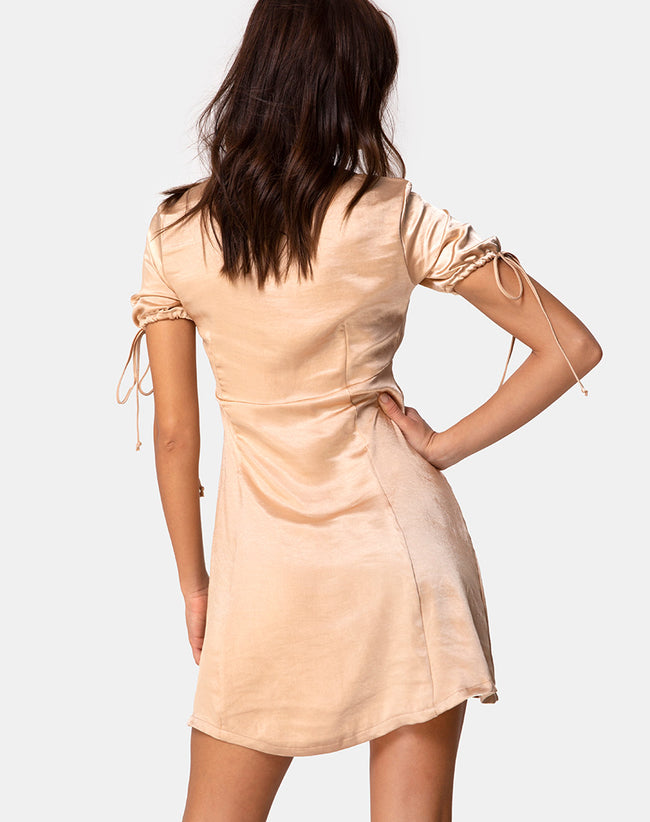 Guenette Dress in Satin Gold by Motel