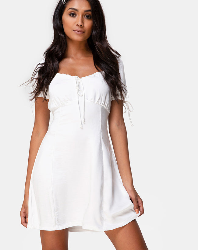 Guenette Dress in Satin Ivory by Motel