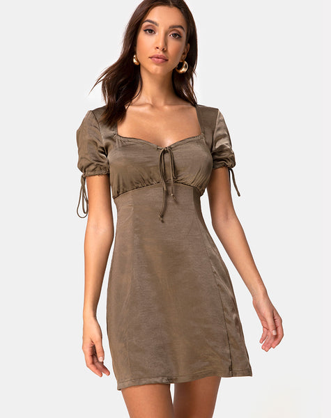 Guenette Dress in Satin Khaki by Motel