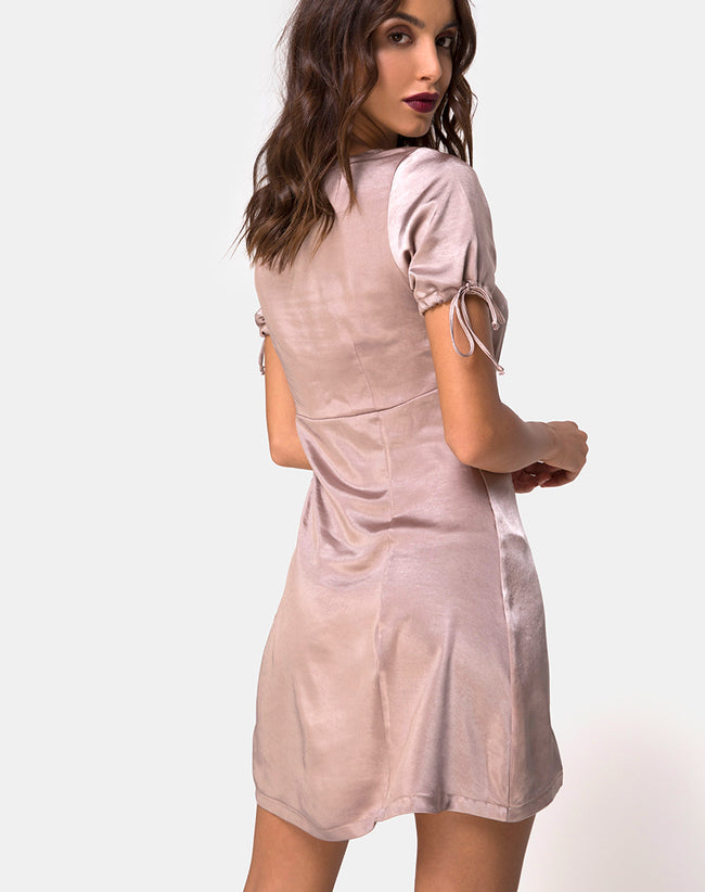 Guenette Dress in Satin Mink by Motel
