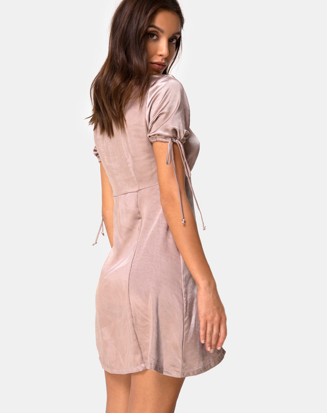 Guenette Dress in Satin Taupe by Motel