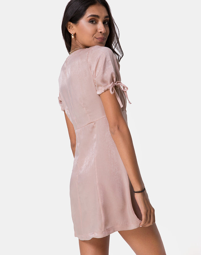 Guenette Dress in Satin Dusty Rose by Motel