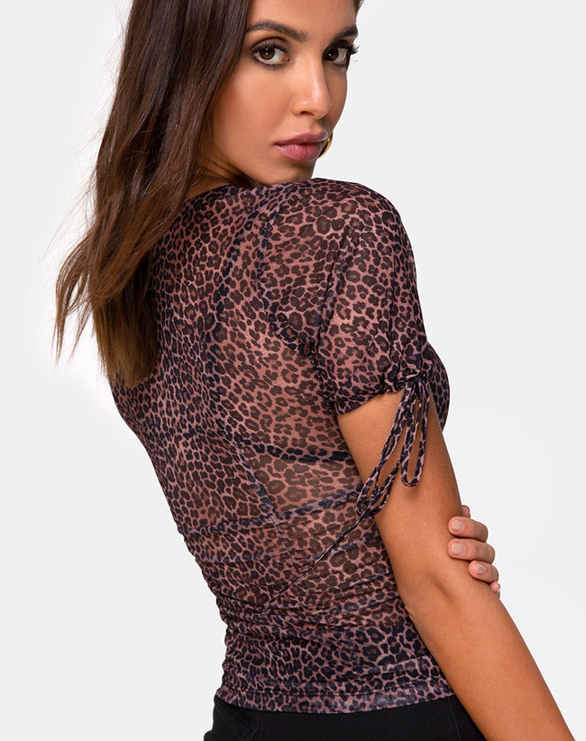 Guinevre Top in Rar Leopard Mesh by Motel