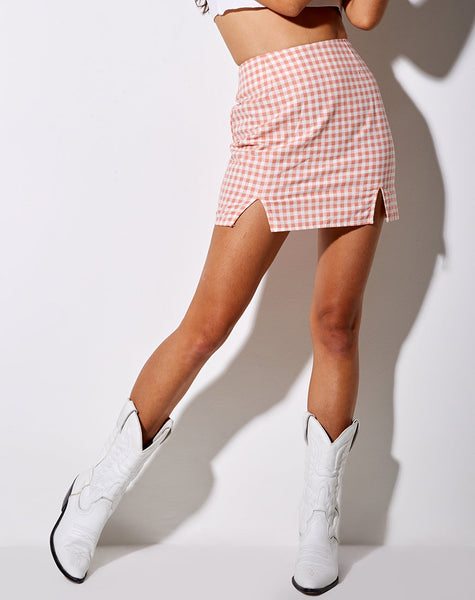 Zila Mini Skirt in Pink Check