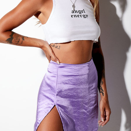 Shenka Mini Skirt in Satin Lilac