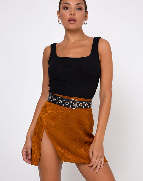 Shenka Mini Skirt in Satin Zebra Golden Coral by Motel