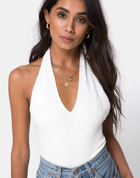 Dyla Crop Top in Blue Denim Hot Fix by Motel