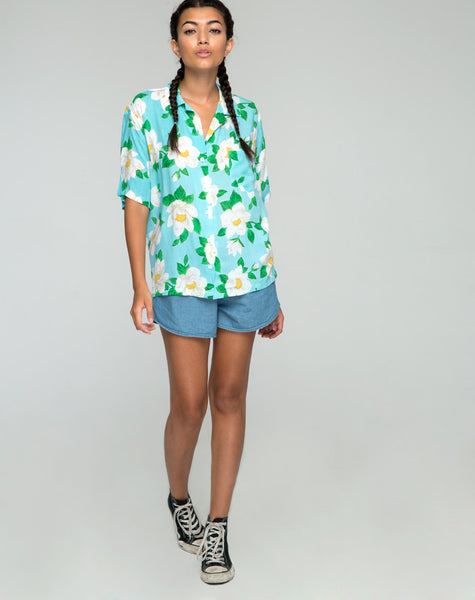 Hawaiian Shirt in White Rose by Motel