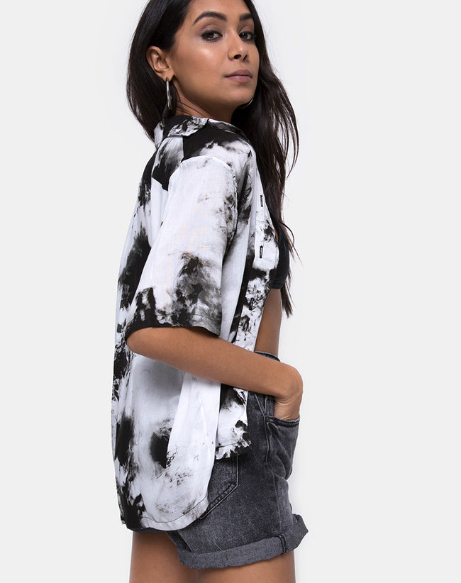 Hawaiian Shirt in Mono Tie Dye Black and White by Motel